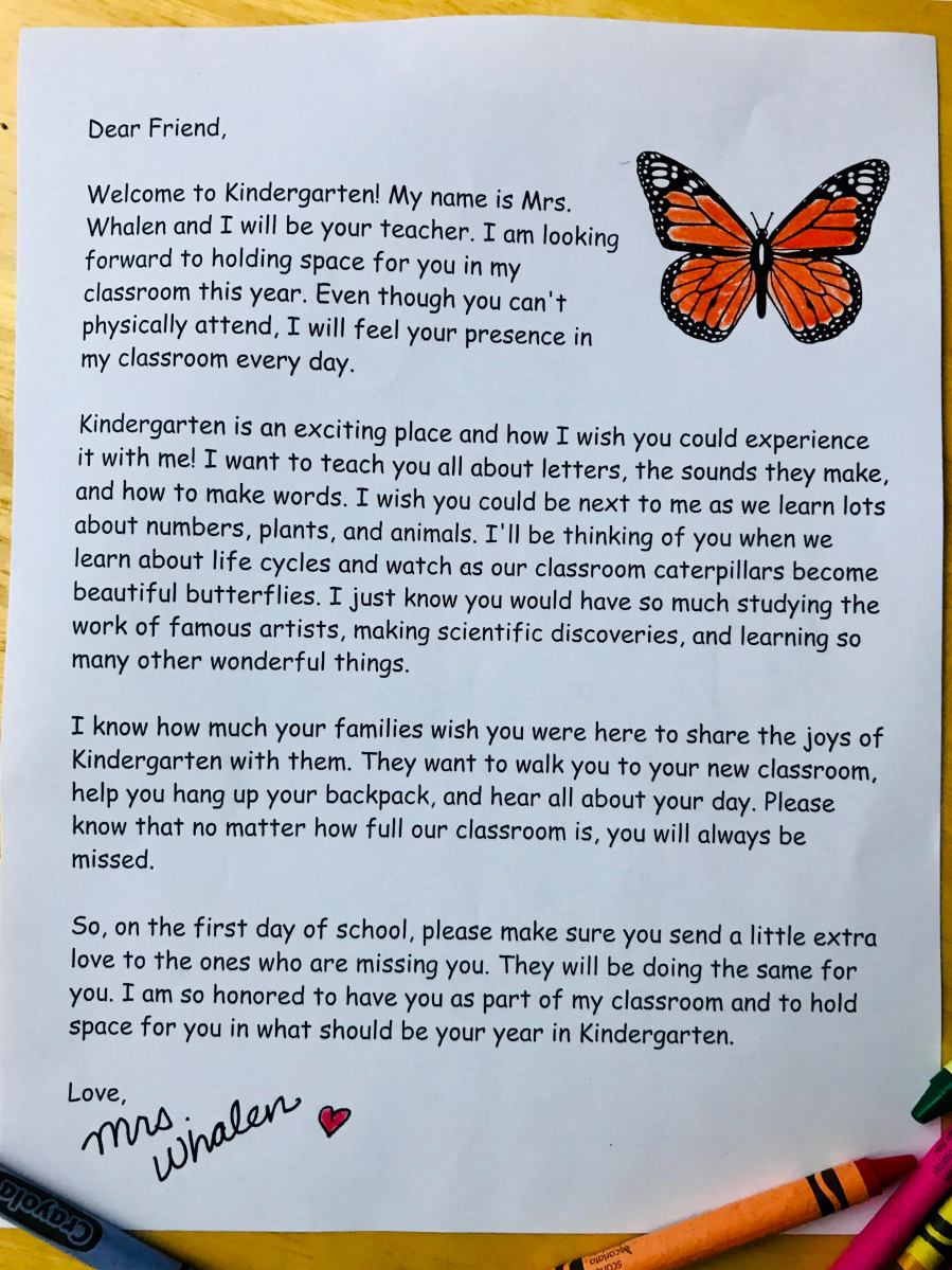 To The Parents Of The Child Who Should Be Starting Kindergarten -- They Can Join My Classroom